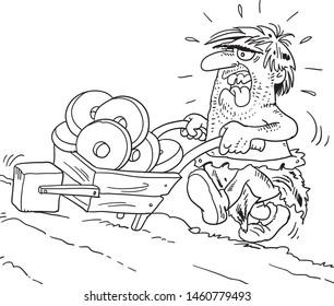 Stone age, primitive man  invents a wheel.