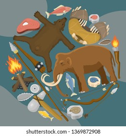 Stone age primitive prehistoric life round pattern vector illustration. Ancient tools and animals. Hunting weapons and household equipment. Neanderthals or homo sapiens. Extinct species. Evolution