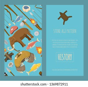 Stone age primitive prehistoric life set of banners vector illustration. Ancient tools and animals as mammoth. Hunting weapons and household equipment. Neanderthals or homo sapiens.