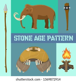 Stone age primitive prehistoric life banner vector illustration. Ancient tools and animals as mammoth. Hunting weapons and household equipment. Neanderthals or homo sapiens.