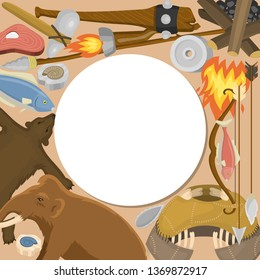 Stone age primitive prehistoric life round pattern vector illustration. Ancient tools and animals. Hunting weapons and household equipment. Neanderthals or homo sapiens. Fish and bear.