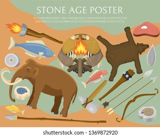 Stone age primitive prehistoric life poster vector illustration. Ancient tools and animals. Hunting weapons and household equipment. Neanderthals or homo sapiens. Fish and bear.
