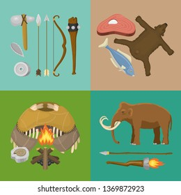 Stone age primitive prehistoric life banner vector illustration. Ancient tools and animals. Hunting weapons and household equipment. Neanderthals or homo sapiens. Fish and bear.