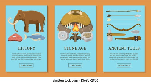 Stone age primitive prehistoric life set of cards, banners vector illustration. Ancient tools and animals. Hunting weapons and household equipment. Neanderthals or homo sapiens.