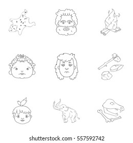 Stone age set icons in outline style. Big collection of stone age vector symbol stock illustration