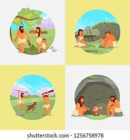 Stone age set. Vector flat illustration of cavemen primitive prehistoric people hunting, cooking meat on open fire, gathering brushwood, making hunter tools stone spears.