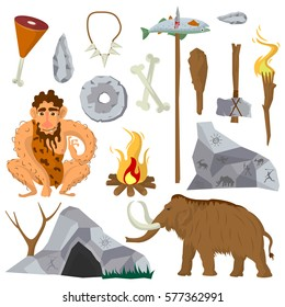 Stone age vector flat icons set of Neanderthal man or caveman, ice-age mammoth, primitive work and weapon tools of ax bat and fishing spear, fire torch near dwelling place tent and jewelry of bones