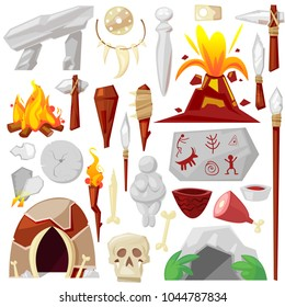 Stone age vector primeval neanderthal stoned weapon axe and prehistoric primitive spear of ancient caveman illustration of cave paintings and volcano or bonfire set isolated on white background