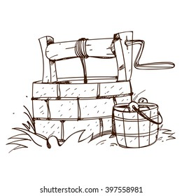 Stone ancient well with a bucket. Black and white outline drawing.