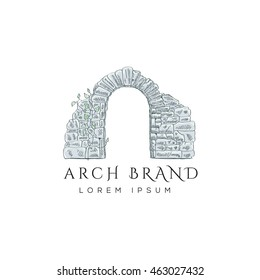Stone arch vector logo design. Vintage arch illustration.