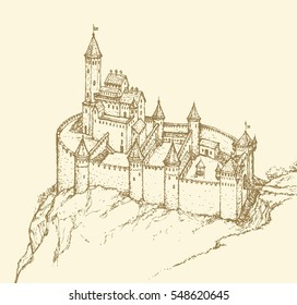 Stone archaic Romanesque Fort and dungeon jail on rock hill. Ffreehand outline ink hand drawn backdrop in art retro fairy tale style pen on paper. Structural plan top view with space for text on sky