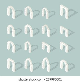 Stone architectural isometric 3d arch icons set. Exterior ancient, entrance door. Vector illustration