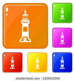Stone beacon icons set collection vector 6 color isolated on white background