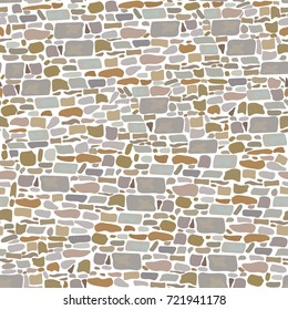Stone Block Wall, Background of wild bricks. Red, grey, yellow, brown, sand pieces. Seamless pattern. Vintage and comfortable