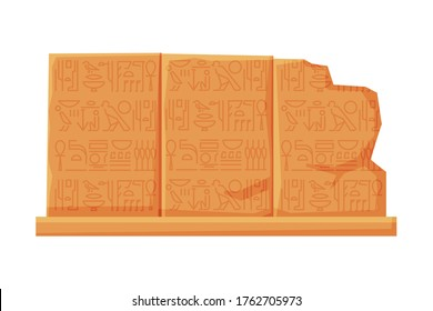 Stone Board with Egyptian Hieroglyphics, Clay Tablet Flat Style Vector Illustration on White Background