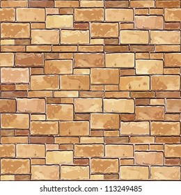 Stone Brick wall seamless Vector illustration background - texture pattern for continuous replicate.