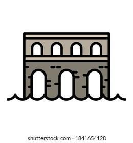 Stone bridge icon. Outline stone bridge vector icon for web design isolated on white background
