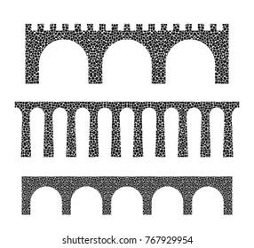 Stone bridge. Isolated bridge on white background