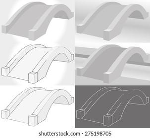 Stone bridge vector illustration set