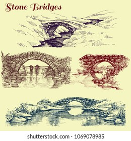 Stone bridges set. A collection of bridges over rivers design elements