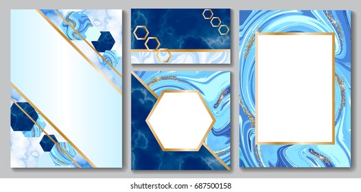 Stone brochure, banner layout set, marble business card or background in trendy minimalistic geometric style, hexagon, blue color, granite, glitter, frame, vector fashion wallpaper, poster, cover