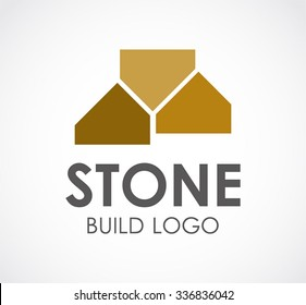 Stone building of construction abstract vector and logo design or template property business icon of company identity symbol concept