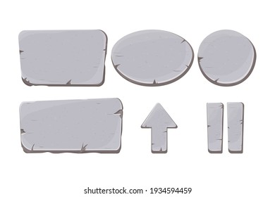 Stone buttons collection, set of rock assets in cartoon style isolated on white background. Mineral detailed objects ui game interface, app pannel.ss