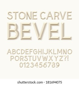 Stone Carve Bevel Alphabet and Numbers, Eps 10 Vector Editable