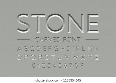 Stone carved font, alphabet letters and numbers vector illustration