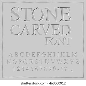 Stone Carved font. Alphabet on rock plate. Chips and scratches. Ancient ABC. Archaic letters