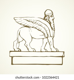 Stone carving cult bearded angel keeper Shedu griffon bas-relief statuette. Hand drawn emblem image sketch in retro art style space for text on white paper background. Old profile achaemenid person