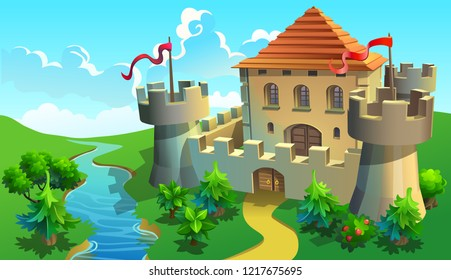 Stone castle near river. Vector illustration of medieval castle with guard towers.