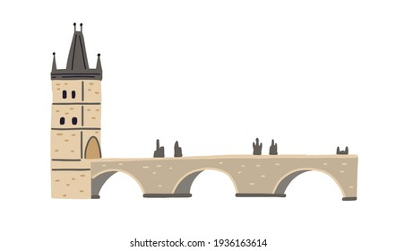 Stone Charles bridge with tower and statues in Prague. Medieval Gothic architecture of Czech Republic. Colored flat vector illustration of popular European landmark isolated on white background