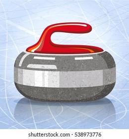 Stone for curling sport game. Vector illustration.