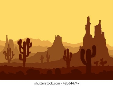 Stone desert. Landscape with sunset in stone desert with cactuses and mountains. Vector illustration.
