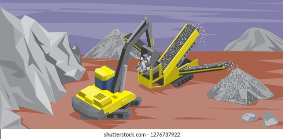 Stone extraction, surface mining. Excavator loads stones in a crushing machine. Panoramic view of stone quarry. Vector