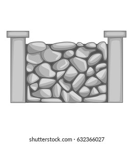 Stone fence icon in monochrome style isolated on white background vector illustration