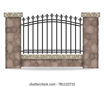 stone fence vector illustration isolated on white background