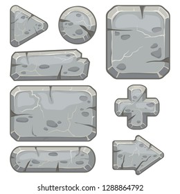 Stone frame. Rubble rocks banner, stones block arrows and gravel rock tablet frames for indie game app. Cartoon stone isolated vector icons set