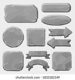 Stone game boards. Granite rocks buttons, grey stone banner, arrows and panels, stone ui elements for game design vector illustration symbols set. Interface buttons for application