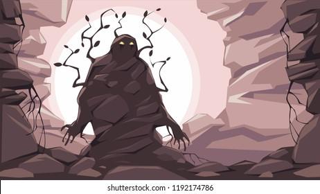 Stone golem. Fantasy vector illustration.