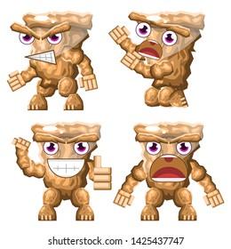 Stone Golem Magic Animal Rock Brown Cute Set