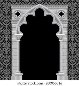 Stone gothic arch and wall in black and white colors on classic vintage background. Antique architecture frame.  Vector Illustration