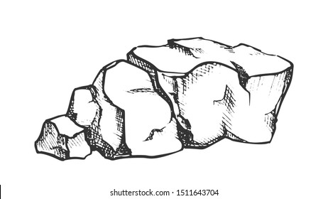 Stone Heap Gravel Cobblestone Monochrome Vector. Solid Strong Crushed Stone Concrete Element. Limestone Nature Slate Engraving Template Hand Drawn In Vintage Style Monochrome Illustration