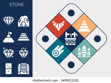 stone icon set. 13 filled stone icons.  Simple modern icons about  - Water well, Dominoes, Waterfall, Gem, Diamond, Pyramid, Cave, Jewel, Asteroid, Angkor wat