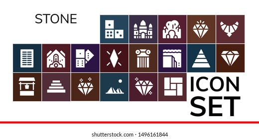 stone icon set. 19 filled stone icons.  Collection Of - Domino, Columns, Water well, Pyramid, Diamond, Pyramids, Gem, Floor, Falling debris, Column, Landslide, Angkor wat, Cave