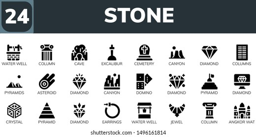 stone icon set. 24 filled stone icons.  Collection Of - Water well, Column, Cave, Excalibur, Cemetery, Canyon, Diamond, Columns, Pyramids, Asteroid, Domino, Pyramid, Crystal, Earrings