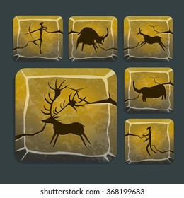 Stone icons with prehistoric drawings, haunting in ice age. Prehistoric human and animals