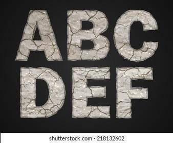 Stone letters set. Vector illustration.