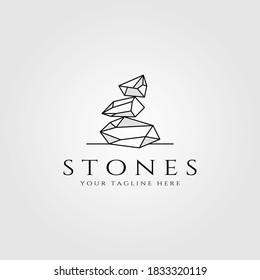 stone logo line art vector illustration design